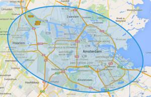 Het werkgebied omgeving Amsterdam